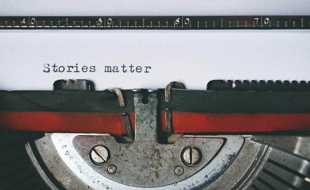 Typewriter with words, Stories Matter
